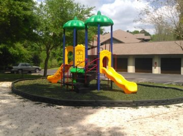 Commercial playground with rubber mulch