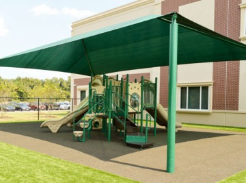 Charter school playground with shade