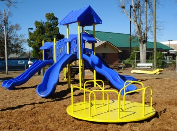 Church playground equipment and shade install