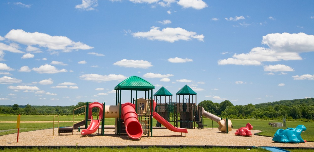 Commercial playground with mulch