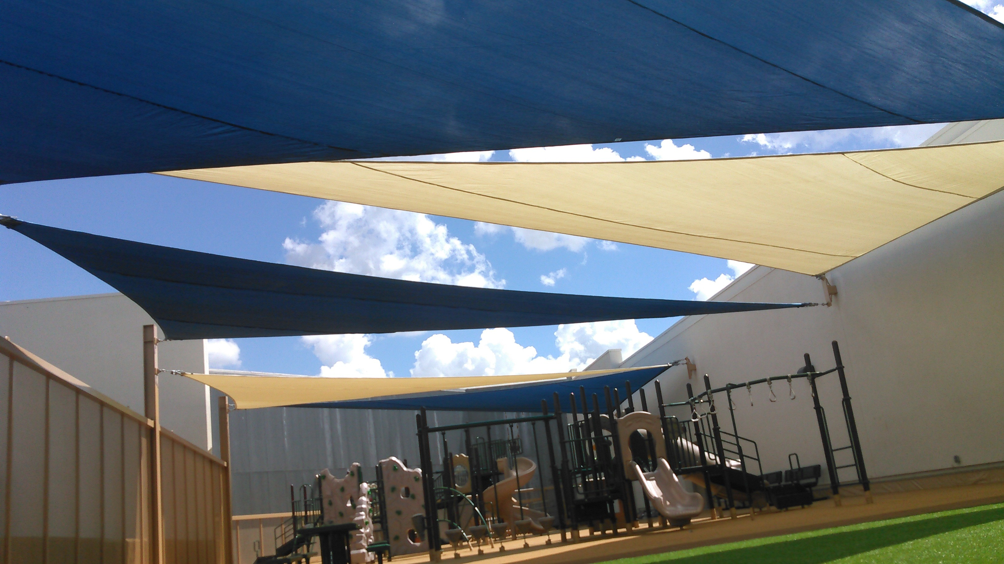 Rooftop Sail Shades Over Rooftop Playground Pro