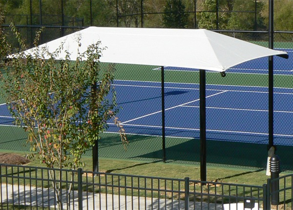 Rectangle dual column umbrella shade structure pro for Shade structures