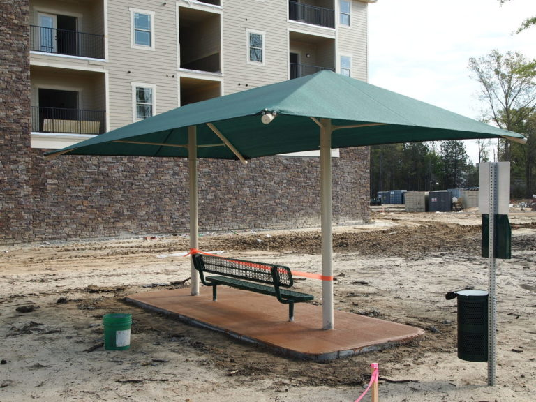 dual column rectangle commercial shade structure 3