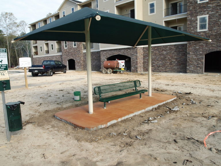 dual column rectangle commercial shade structure 4