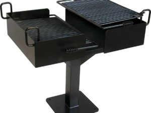 dual grate cantilever commercial campfire grill 1