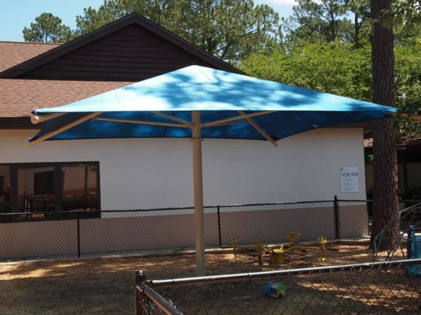 single column square commercial shade structure 3