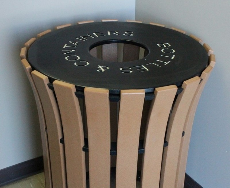 Flare Top Recycled Plastic Round Trash Receptacle