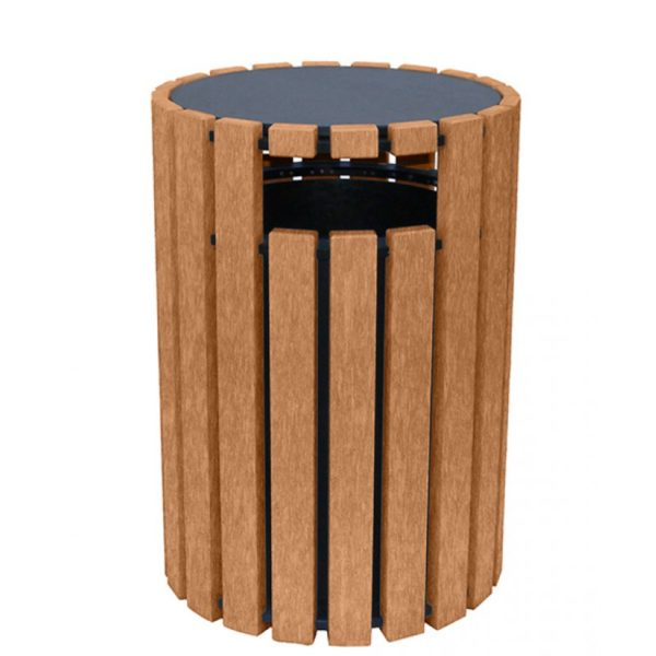 33 gallon round recycled plastic trash receptacle 1