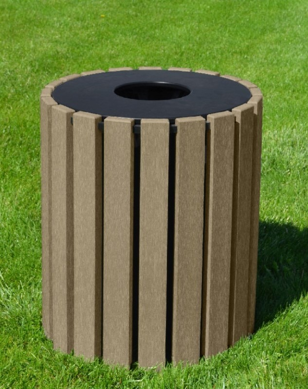33 gallon round recycled plastic trash receptacle 10