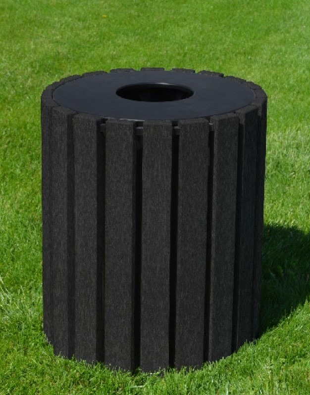 33 gallon round recycled plastic trash receptacle 12