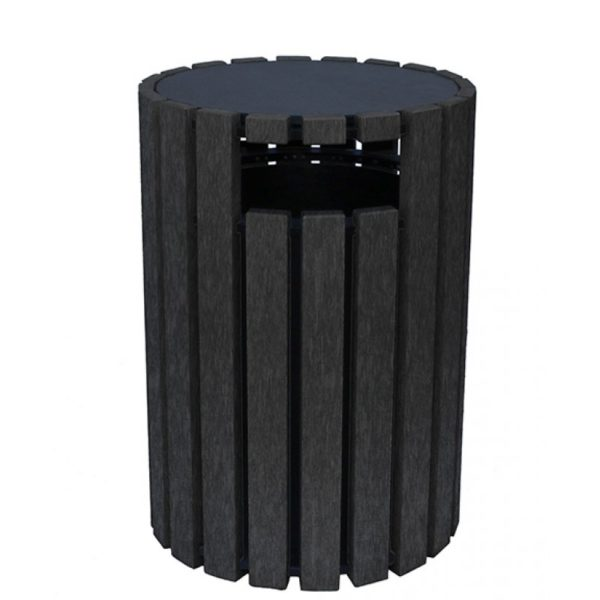 33 gallon round recycled plastic trash receptacle 14