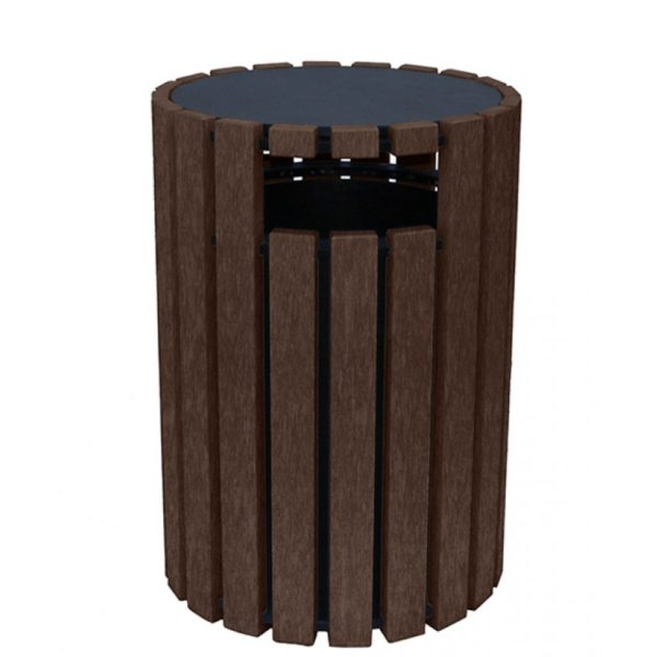 33 gallon round recycled plastic trash receptacle 15