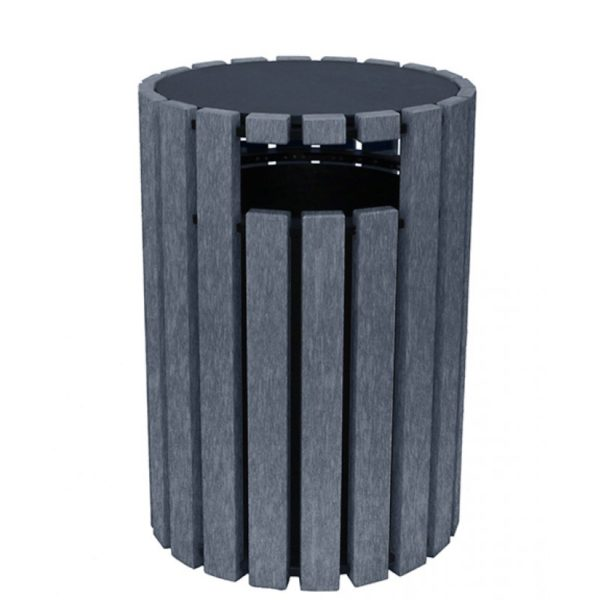 33 gallon round recycled plastic trash receptacle 2