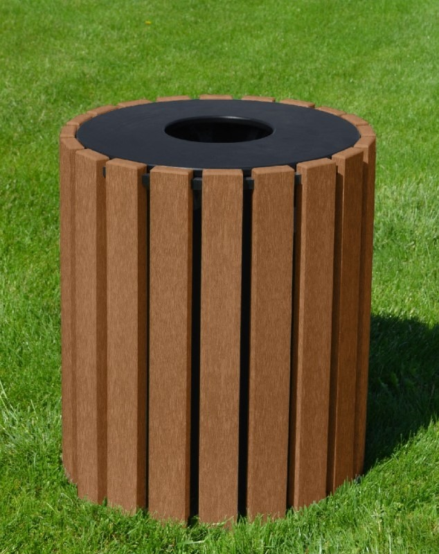 33 gallon round recycled plastic trash receptacle 3