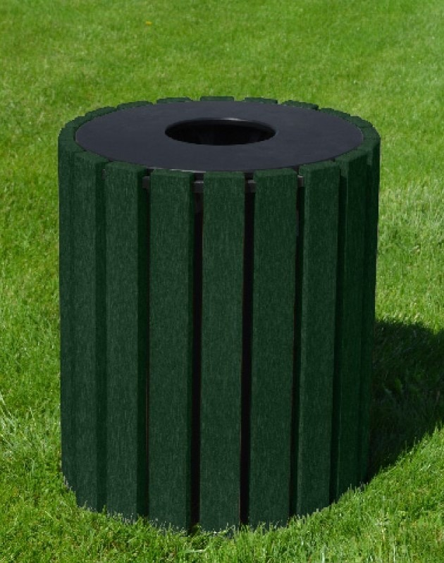 33 gallon round recycled plastic trash receptacle 8