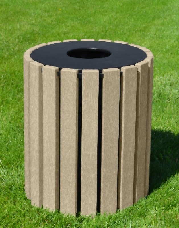 33 gallon round recycled plastic trash receptacle 9
