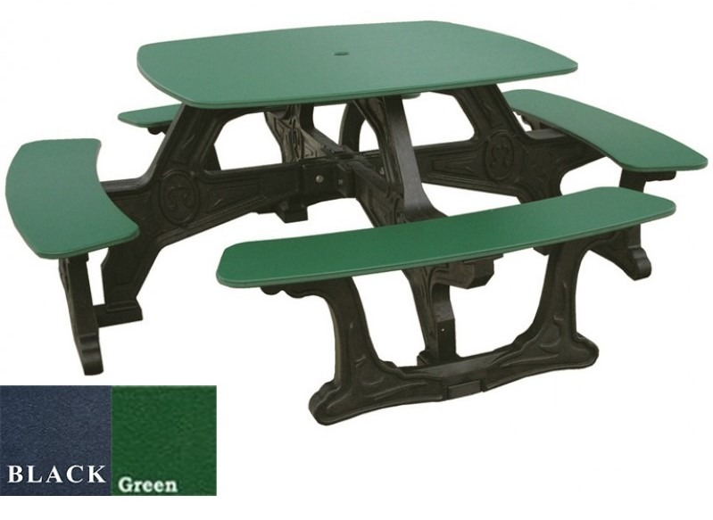 Polly Tuff Step Through Recycled Plastic Picnic Table Pro - Square picnic table with benches