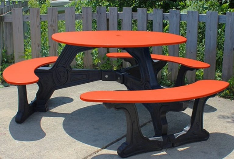 bodega round recycled plastic picnic table 2
