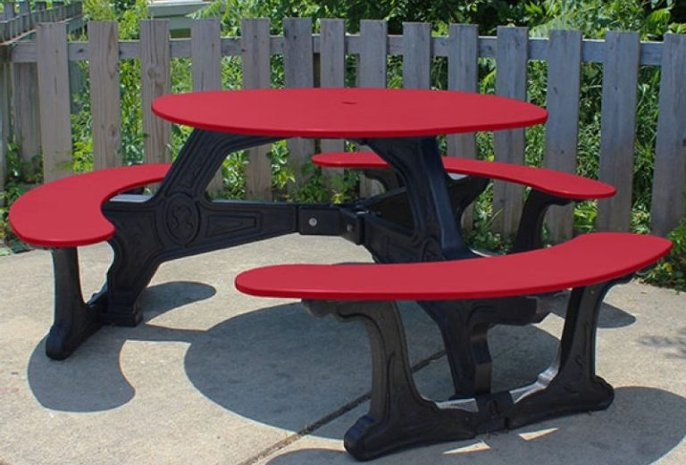 bodega round recycled plastic picnic table 3