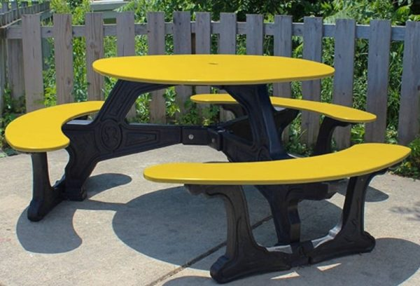 bodega round recycled plastic picnic table 8