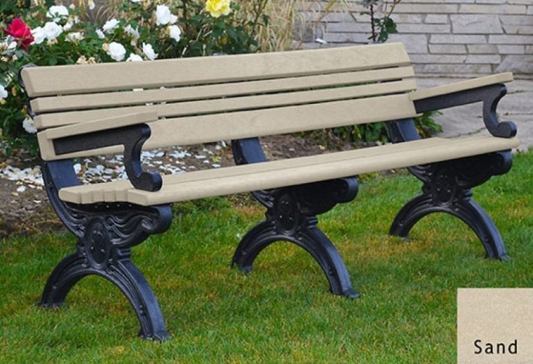 cambridge recycled bench with arms 1
