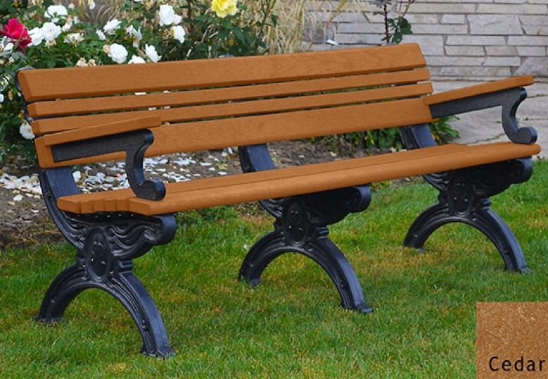 Cambridge Recycled Plastic Bench With Arms Pro