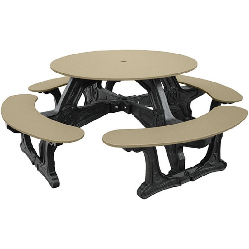 cantina round recycled plastic picnic table 6