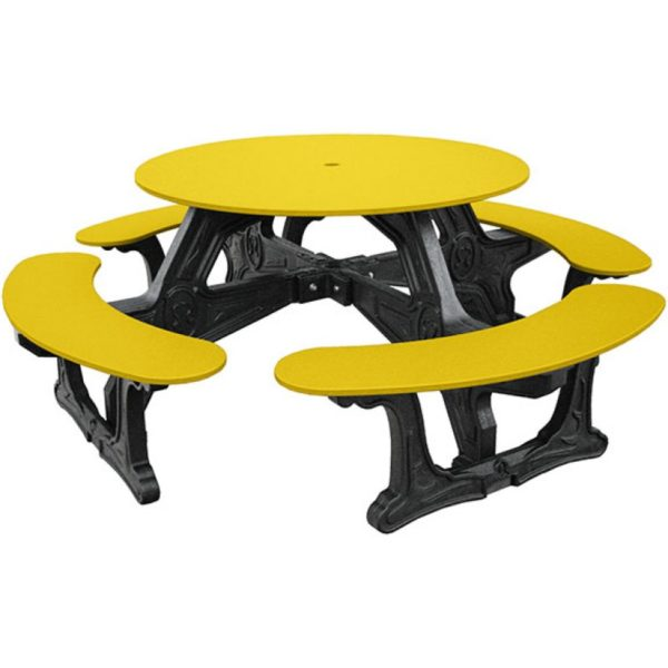cantina round recycled plastic picnic table 8