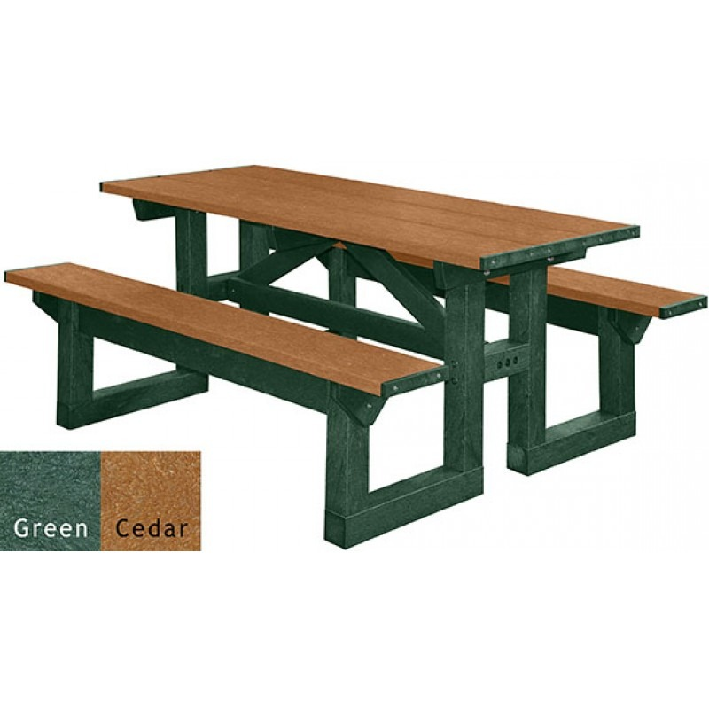 polly tuff step through recycled plastic picnic table | pro