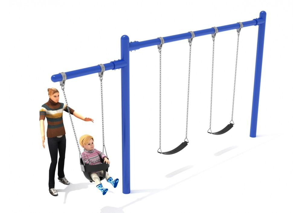 Single post swings pro playgrounds the play for Swing set frame only