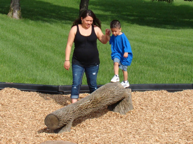 8ft fallen tree nature themed playground balance beam 3
