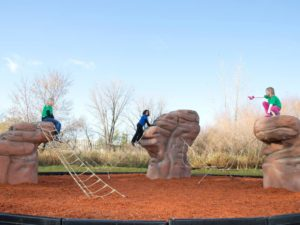 casacade range playground climbing boulder with nets 3