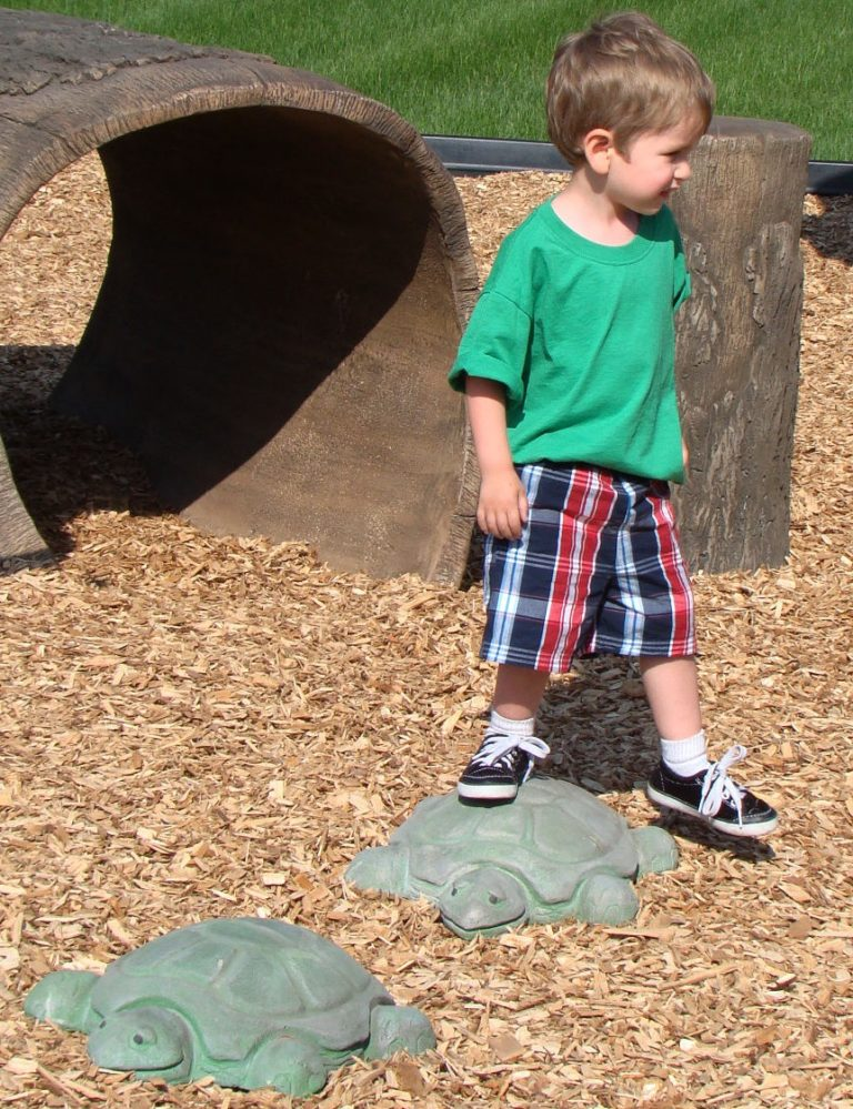 nature themed playgroudn turtule stepping boulders 1