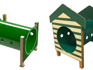 Recycled Crawl Tunnel with Dog House Dog Park 1
