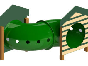 Recydcled Curved Tunnel with Dog House Dog Park 1