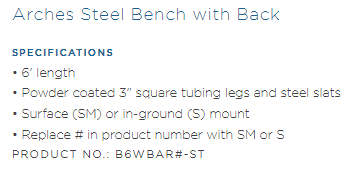 B6WBAR Specs